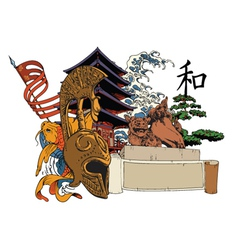 japanese emblem vector image vector image