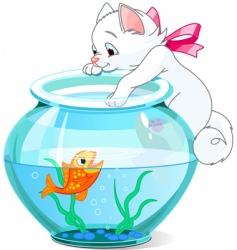 kitten and fish cartoon vector image