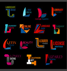 l creative modern corporate identity icons set vector image