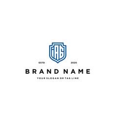 Letter iag and shield logo design vector
