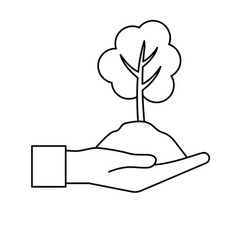 Line hand with natural tree and ground icon vector