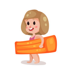Little girl with orange inflatable mattress kid vector