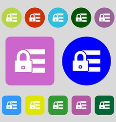 Lock login icon sign 12 colored buttons Flat vector