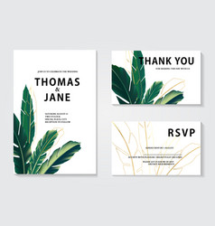luxury floral wedding invitation cards with gold vector image