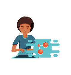 man black with laptop computer and share symbol vector image