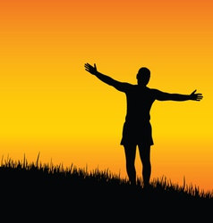 Man stand with open arms at sunset vector