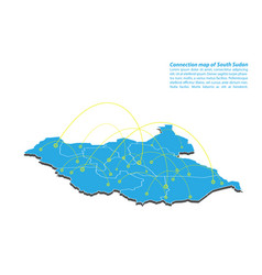 Modern of south sudan map connections network vector