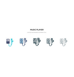 music player icon in different style two colored vector image