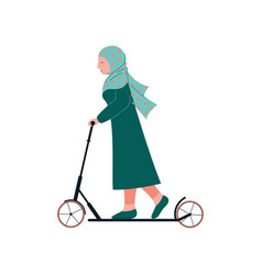 Muslim woman in hijab riding kick scooter modern vector