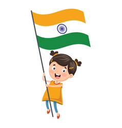 of kid holding flag vector image