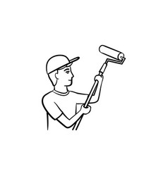 painter with roller hand drawn sketch icon vector image