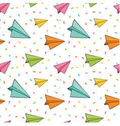 paper planes seamless background cute vector image