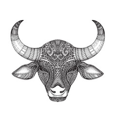 Patterned head of the bull vector