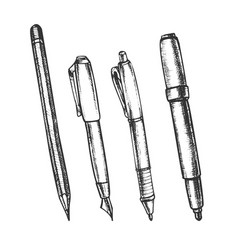 Pen pencil and felt-tip marker retro set vector