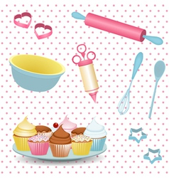 retro baking equipment vector image