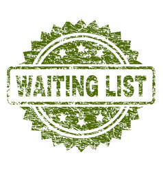 Scratched textured waiting list stamp seal vector
