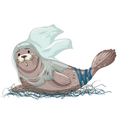 Seal with net and plastic bags vector
