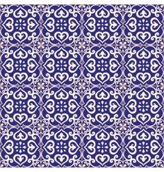 seamless pattern azulejo dark blue vector image