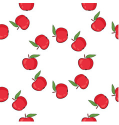 seamless pattern background with red apples vector image