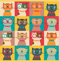 Seamless pattern with colorful cats in squares vector