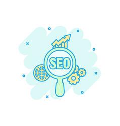 seo analytics icon in comic style social media vector image
