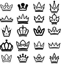 set hand drawn crowns isolated on white vector image