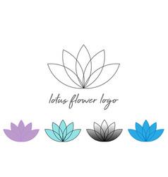Set line lotus flower or flower life sacred vector