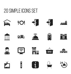 set of 20 editable plaza icons includes symbols vector image
