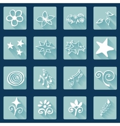 Set of doodle white icons abstract vector