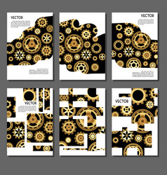 set of golden covers for brochures vector image