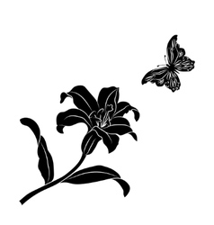 Silhouette Lily and butterfly vector