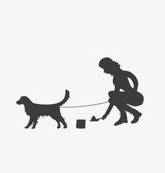silhouette of woman cleaning after a golden vector image