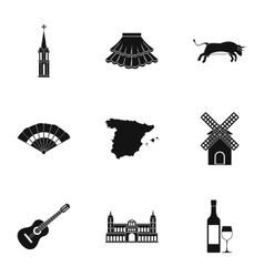 Spain icons set simple style vector image