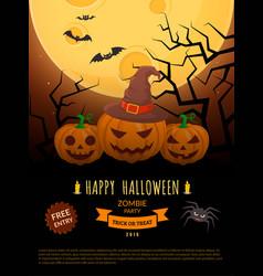 Spooky pumpkins and full moon vector