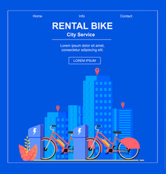 square flat banner bike rental city service vector image