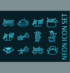 Sushi set icons blue glowing neon style vector