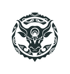 Tattoo of a bull in polynesian style vector