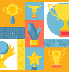 trophy icons in colorful collage vector image