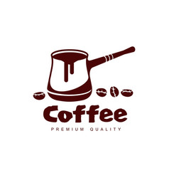 Turkish coffee cezve pot flat icon isolated vector