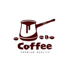 turkish coffee cezve pot flat icon isolated vector image