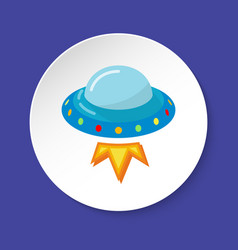 ufo spaceship icon in flat style on round button vector image