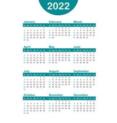 Vertical blue pocket calendar on 2022 year vector