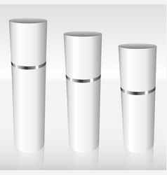 white airless bottles with a silver ring vector image