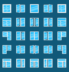 window flat icons set of plastic windows vector image