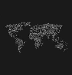 world map of white squares on black background vector image