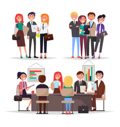 young businessman on conference colorful banner vector image