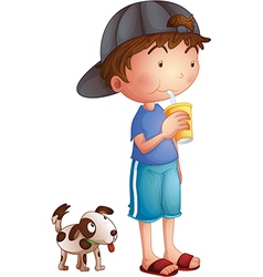 A young boy drinking beside a cute puppy vector image