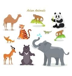 Asian Animals Fauna Species Camel Panda Tiger vector image vector image