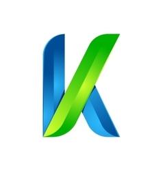 K letter leaves eco logo volume icon vector image vector image