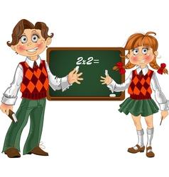 Schoolgirl and Schoolboy with a blackboard vector image vector image